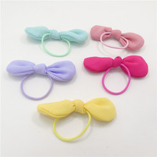 30pcs/lot Small Bow Girl Hairbands Photo Prop Cute Claw Braid Ponytail Elastic Hair Bands Pink Green Purple Kids Hair Bow Bands