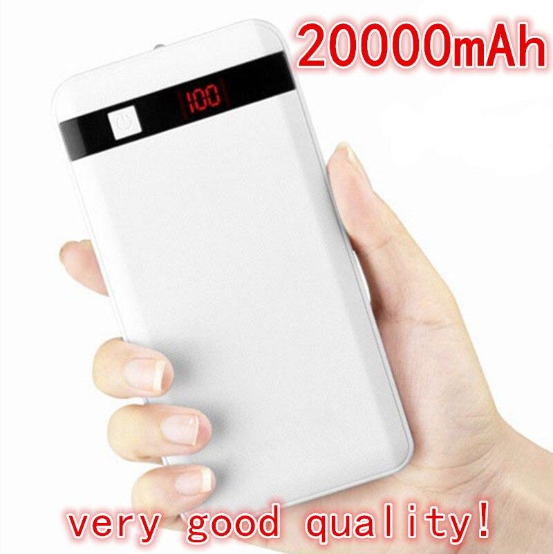 100% Original 20000mAh Power Bank Ultra-thin External Battery Pack Led light 2USB For Universal iPhone Samsung Smartphone Tablet<br><br>Aliexpress