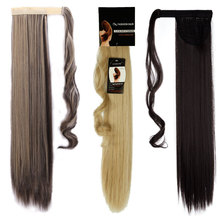 Long Women 23 inches 58CM Wrap Around Ponytail Pony tail Clip in Hair Extensions Straight Wrap on Hair Piece Black Brown Blonde