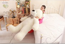 lovely huge bear toy plush toy cute big eyes bow stuffed bear toy teddy bear birthday gift white 180cm