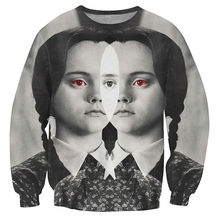 Creative Men Sweatshirt 3D Print Little Girl With Red Eyes Dark And Grim Sweats Tops Crewneck Pullover Fashion Clothing Homme