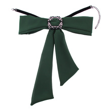 Olsen Twins Vintage Style Rhinestone Square Bowknot Scarf Collar Necklaces For Women 2018 Costume Jewelry(China)