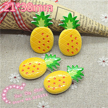 flat back ananas fruit resin printing crafts 25*33mm 50pcs/lot