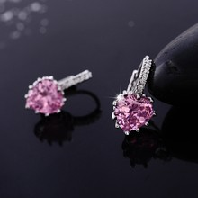 Pink Heart Crystal Hoop Earrings For Women Gift Small Silver Color Cubic Zirconia Creole Earrings Womens Jewellery brincos EH243