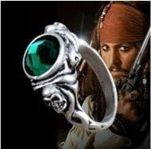 Promotion,New Free shipping Retro Pirates of the Caribbean Green gem Skeleton Ring Movie Jewelry Wholesale High quality(China)