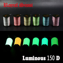 6colors assorted 150D denier luminescent fly tying thread highly waxed polyester filament yarns 300yd per spool fly fishing line