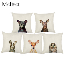 Cute Animal Cushion Cover Owl Rabbit Bear Fox Decorative Pillow Case Linen Pillow Cover Car Sofa Almofadas Pillowcase Cojines(China)