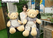 new arrival huge 100cm couple teddy bears plush toy lovely dressed loves bear soft doll throw pillow Valentine's Day gift b0758(China)