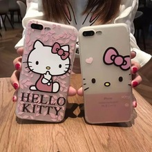 Luxury Soft Silicon 3D Design Hello kitty Cute Cartoon Cat Case for iphone 6 6s 4.7 7 7 plus 5.5 Phone Back Cover Coque Fundas(China)