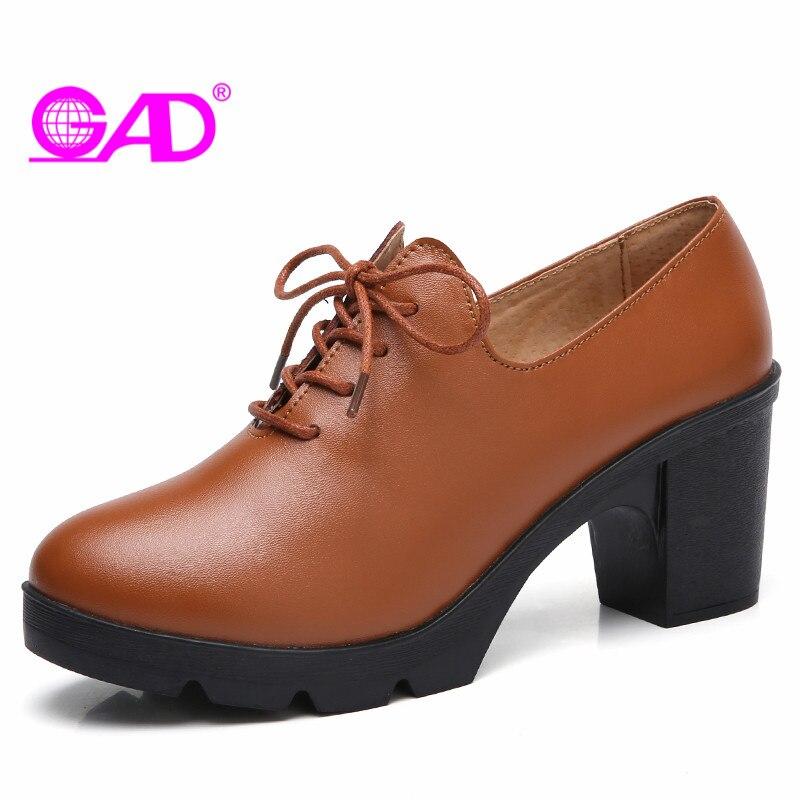 GAD Platform Women Pumps High Quality Split Leather High Heel Lace Up Women Shoes Pumps Fashion Sexy Black Brown Ladies Pumps<br>