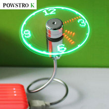 POWSTRO K Flexible USB Led Light Lamp Clock Time Fan Fans Unique Keep Cool USB Gadget With Retail Package Support Drop Shipping
