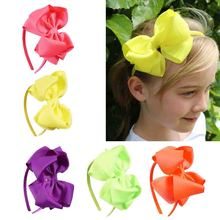 12PCS/LOT Neon Color Hairband Handmade Boutique Hair Bow hair band ribbon Bow Children Hair Accessories Hair Bands For Girls