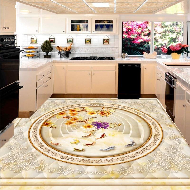 Free shipping photo Magnolia stone pattern parquet 3D floor bathroom floor custom living room wallpaper mural flooring<br>