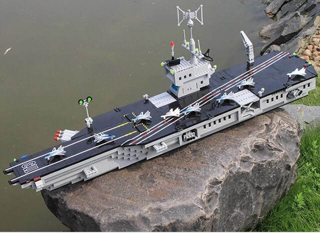 Model building kits compatible with lego city military Aircraft carrier 778 3D blocks Educational toys hobbies for children<br>