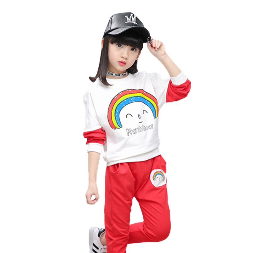 2017 Spring Girls Clothing Sets Rainbow Cotton Girls Sports Suits Long Sleeve T-Shirts &amp; Pants 2Pcs clotjhing set for teenager<br><br>Aliexpress