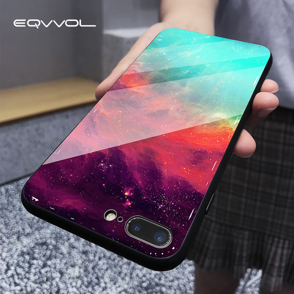 Eqvvol Tempered Glass Space Phone Case For iPhone XS Max XR X 8 7 6 6s Plus Soft TPU Edge Case 8plus Starry Moon Cover Coque(China)