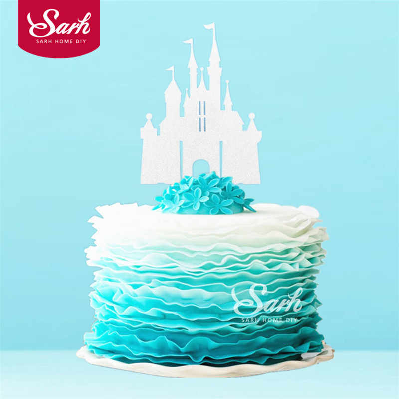 Detail Feedback Questions About 3PCS Bling Gold Sliver Romantic Princess Castle Cake Topper With Plasticstick Decoration Wedding Birthday Party Gifts