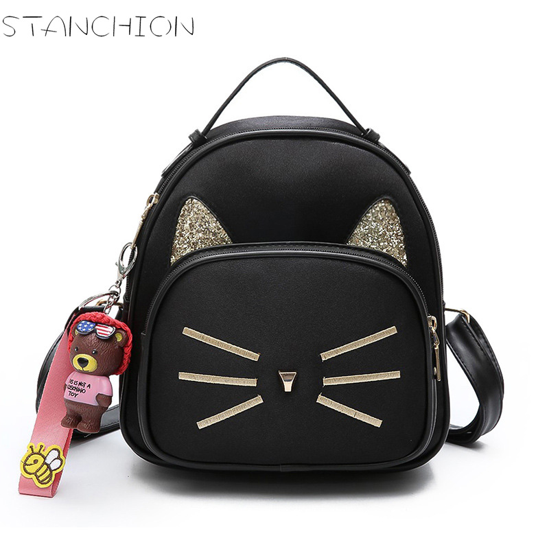 STANCHION  Velour Women Backpacks Cat Moustache Embroidered School Bags for Teenage Girls <br>