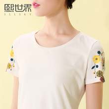 Brand Printed T-shirt Women Cropped 2017 Summer New O Neck White Cotton Plain Pink Top Tees Casual Short Sleeve Shirt 102ST005