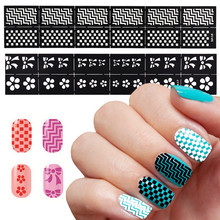 Hot Deal 1 Sheets Vinyls Nail Hollow Irregular Grid Stencil Reusable Manicure Stickers Guide Stamping Template Nail Art Tools