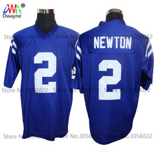 2017 Cheap American Football Jerseys Cam Newton #2 Westlake High School Home Blue Throwback jerseys Retro Stitched Shirts(China)