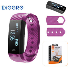 Diggro ID115HR Bluetooth 4.0 Android IOS Heart Rate Bracelet Pedometer Calorie Sleep Monitor Call/SMS Reminder Alarm Wristband(China)