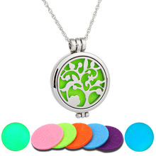 Leaf of Life Multicolor Ball Of Silver Hollow Glow Pendant Necklaces For Women Gift Add Perfume Divergent organ Jewelery 1set