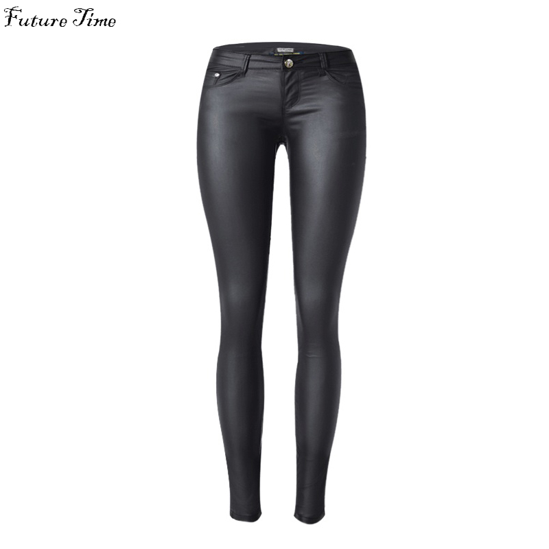 2017 low waist women jeans sexy stretch elastic Faux leather jeans low waist slim skinny pencil pants washed coated jeans C1074Одежда и ак�е��уары<br><br><br>Aliexpress