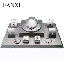 FANXI DHL express shipping custom  size MDF jewelry presentor stand for shop window and store counter showcase jewellery display