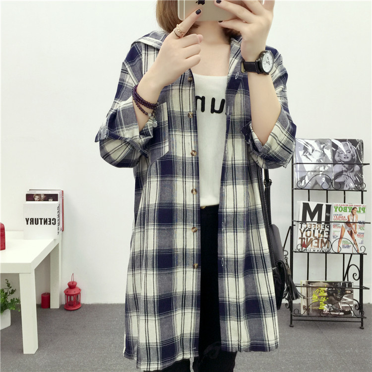 Brand Yan Qing Huan 2018 Spring Long Paragraph Large Size Plaid Shirt Fashion New Women's Casual Loose Long-sleeved Blouse Shirt 27 Online shopping Bangladesh