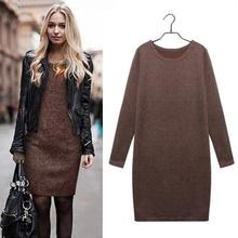 Vintage Bandage Plus Size Dress Winter Autumn Dresses Cotton Long Sleeve Knee Length Dresses Fashion Gray Wine Red color