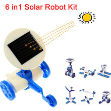 Creative 6 in 1 DIY solar toy kit robot windmill plane car educational solar power Kits Novelty Christmas Birthday Gift