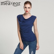 Meaneor Women Cowl Neck T-shirts tops women Sleeveless t-shirt Ruched Slim Tshirts Navy Blue Solid Summer Sexy TOP 2017 New S-XL(China)