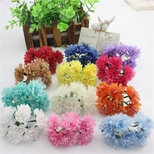 6pcs/lot Mini Silk Artificial Rose Flowers Bouquet Wedding Decoration Paper Flower For DIY Scrapbooking Flower Ball Cheap Flores