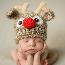 Cute Children Crochet Knit Deer Beanie Hat Baby Animal Cap Photo Props Infant ELF Hat X Xmas Beanies 1pc H002(China)