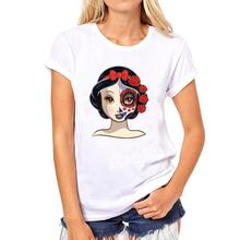 Sugar Skull ugly snow white princess t shirt women plus size casual white o neck tee lady short sleeve tops 2017 newest(China)