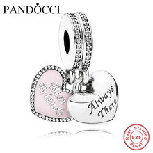 Fits Pandora Charms Bracelet 925 Sterling-Silver-Jewelry DIY Best Friends Heart Hanging Charm Beads for Jewelry Making