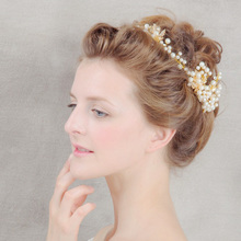 High Quality Gold Plat Royal Hair Jewelry Fashion Pearl Bride Tiaras Wedding Hair Accessories