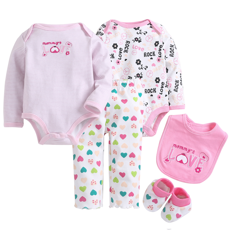 Baby Gril Clothes Sets 5 pcs/set Pink Love Baby Bodysuit 100% Cotton Toddler Jumpsuit Spring Baby Girl Newborn Bebe Overall<br>