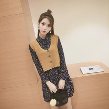 Spring female vintage preppy style short knitted vest clip waistcoat women Sleeveless sweater V-Neck small cardigan  XY5042