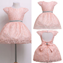 Formal Party Gown Formal Cute Love Pattern Princess Girl Dresses Pink Baby Kids Girls Dress Bridesmaid Wedding