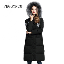 Black Winter Outerwear Woman Hooded Winter Warm Coat With a Real Fur Collar an Elongated Jacket Women Slim Luxury Down Coat