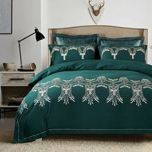 4-Pieces Embroidery Luxury Bedding Set King Size Queen red green Color Bed Set Duvet Cover Bed Sheet