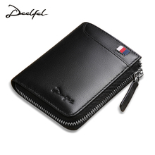 Deelfel Men Wallets Genuine Leather Short Coin Purse Small Vintage Walet Men's Purse Zipper Cion Pocket Card Holder Men Wallets(China)