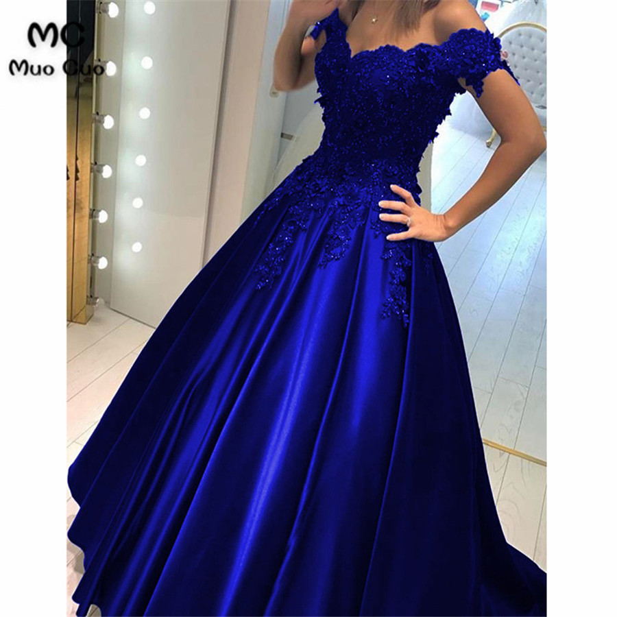 Lace Flower Off The Shoulder Satin Prom Dresses Ball Gowns22