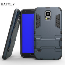 For Samsung Galaxy S5 Case i9600 Slim Hard Back Phone Case Robot Armor Protector Hybrid Silicone Rubber Cover For Samsung S5 <(