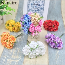 6pcs/lot 12 Colors Mini Silk Artificial Rose Flowers Bouquet Wedding Decoration Paper Flower For DIY Scrapbooking Flower Ball(China)