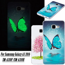 Luminous Luxury Cell Phone Case sFor Samsung Galaxy A3 2016 A310F A310H Glow in the Dark 3D Cartoon Soft Silicone TPU Back Cover