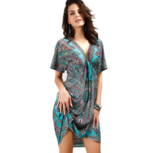 Kleider Women V sexy soft milk silk Boho print midi tribal dresses 2018 summer Ethnic casual loose waist Beach Dress(China)