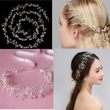 Bohemian Headpiece Pearl Flower Braid Headband Rhinestone Long Bridal Wedding Tiaras Crown Hair Band Accessorie Ornament Jewelry